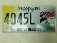 Mississippi U.S. Armed Forces Active Reserve License Plate 4045L