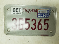 2014 Oklahoma Motorcycle License Plate 3G5365