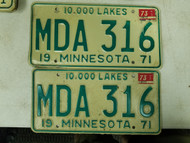 1971 (1973 Tag) Minnesota 10,000 Lakes License Plate MDA 316 Pair
