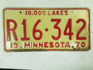 1970 Minnesota 10,000 Lakes License Plate R16-342