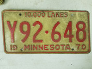 1970 Minnesota 10,000 Lakes License Plate Y92-648