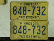 Minnesota Tax Exempt License Plate 848-732 Pair