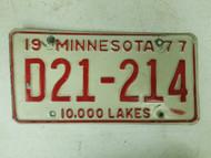 1977 Minnesota Dealer 10,000 Lakes License Plate D21-214