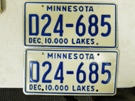 Minnesota Dealer 10,000 Lakes License Plate D24-685 Pair