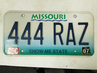 2007 Missouri Show Me State License Plate 444 RAZ Triple Four