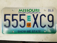 2008 Missouri Show Me State License Plate 555 XC9 Triple Five