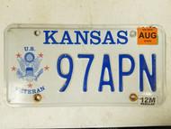 2014 Kansas U.S. Veterans Army License Plate 97APN