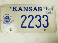 2002 Kansas U.S. Veterans Army License Plate 2233