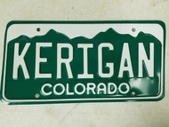 Colorado License Plate KERIGAN