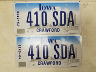 Iowa Crawford County Special License Plate 410 SDA Pair