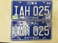 1986 Iowa Antique License Plate IAH 025 Pair