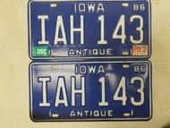 1986 (1992 Tag) Iowa Antique License Plate IAH 143 Pair