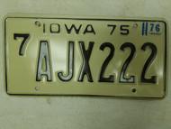 1975 (1976 Tag) Iowa Black Hawk County License Plate AJX222 Triple Two