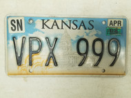 2008 Kansas Shawnee County License Plate VPX 999 Triple Nine