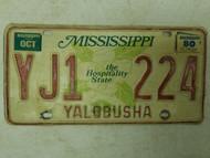 1980 Mississippi Yalobusha County Hospitality State License Plate YJ1 224