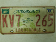 1980 Mississippi Lauderdale County Hospitality State License Plate KV7 265