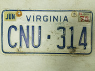 1978 Virginia License Plate CNU-314