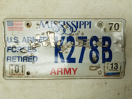 2013 Mississippi U.S. Armed Forces Retired Army License Plate K278B