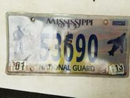 2013 Mississippi National Guard License Plate 53690