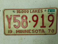 1970 (1971 Tag) Minnesota 10,000 Lakes License Plate Y58-919