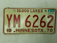 1970 (1971 Tag) Minnesota 10,000 Lakes License Plate YM 6262