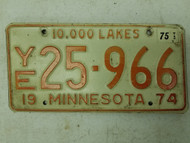 1974 (1975 Tag) Minnesota 10,000 Lakes License Plate 25-966