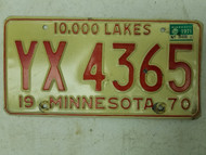 1970 (1971 Tag) Minnesota 10,000 Lakes License Plate YX 4365