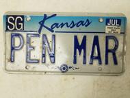 Kansas Sedgwick County License Plate PEN MAR