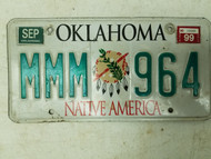 1999 Oklahoma Native America License Plate MMM 964 Triple M