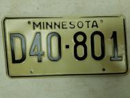 Minnesota Dealer Plate D40-801