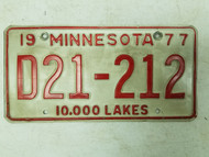 1977 Minnesota Dealer 10,000 Lakes Plate D21-212