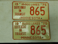 1975 Minnesota Driveway In Transit 10,000 Lakes Plate 865 Pair