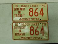 1975 Minnesota Driveway In Transit 10,000 Lakes Plate 864 Pair