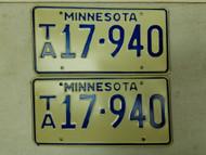 Minnesota License Plate 17-940 Pair