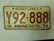 1970 Minnesota 10,000 License Plate Y92-888 Triple Eight
