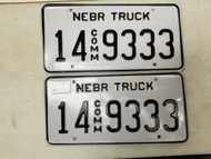 Nebraska Commercial Truck Adams County License Plate 14 9333 Triple Three Pair