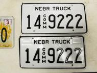 Nebraska Commercial Truck Adams County License Plate 14 9222 Triple Two Pair