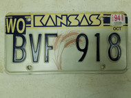 1994 Kansas Woodson County License Plate BVF 918