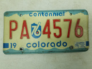 1976 Colorado Otero County License Plate PA 4576