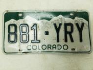 Colorado License Plate 881-YRY