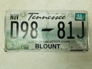 2013 Tennessee The Volunteer State Dealer Blount County License Plate D98-81J