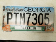 2015 GeorgiaPeach State Franklin County License Plate PTM7305