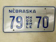 Nebraska Mobile Home License Plate 79 70