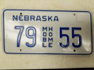 Nebraska Mobile Home License Plate 79 55