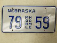 Nebraska Mobile Home License Plate 79 59