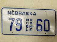 Nebraska Mobile Home License Plate 79 60