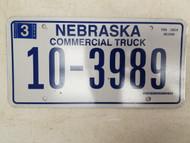 2006 Nebraska Commercial Truck License Plate 10-3989