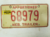 1989 Nebraska Apportioned Trailer License Plate 68979