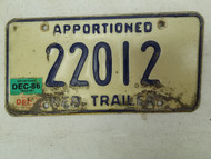 1986 Nebraska Apportioned Trailer License Plate 22012