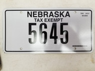Nebraska Tax Exempt License Plate 5645 (2)